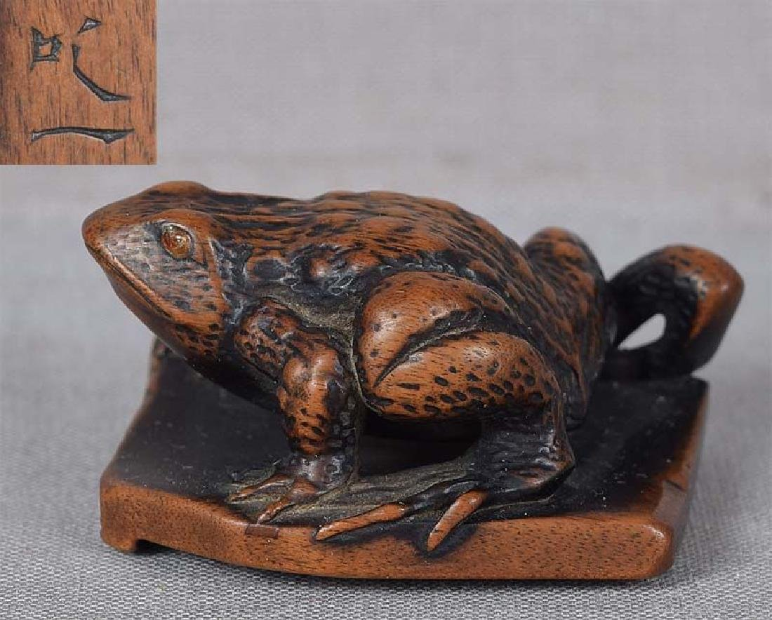 Antique Japanese Netsuke Frog on Tile by Shitsuichi