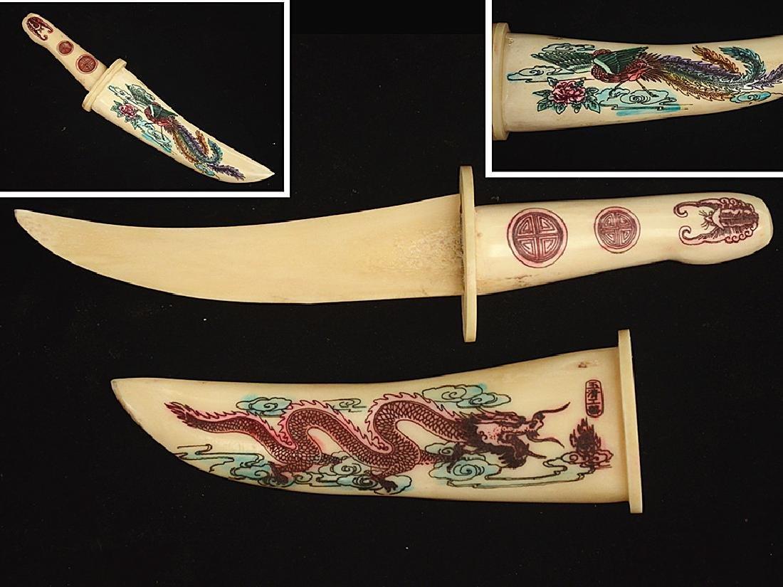 Antique Japanese Taisho Bone Dagger Letter Opener