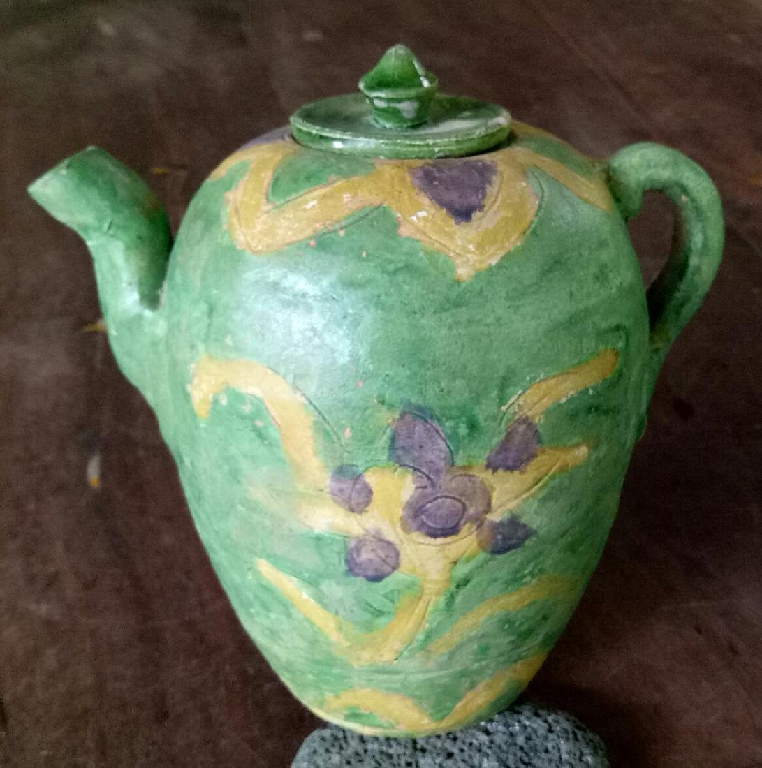 Chinese Ming Dynasty Stoneware Sancai Ewer
