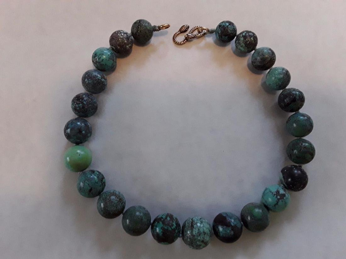 Antique Rare Chinese/Tibetan Turquoise Bead Necklace