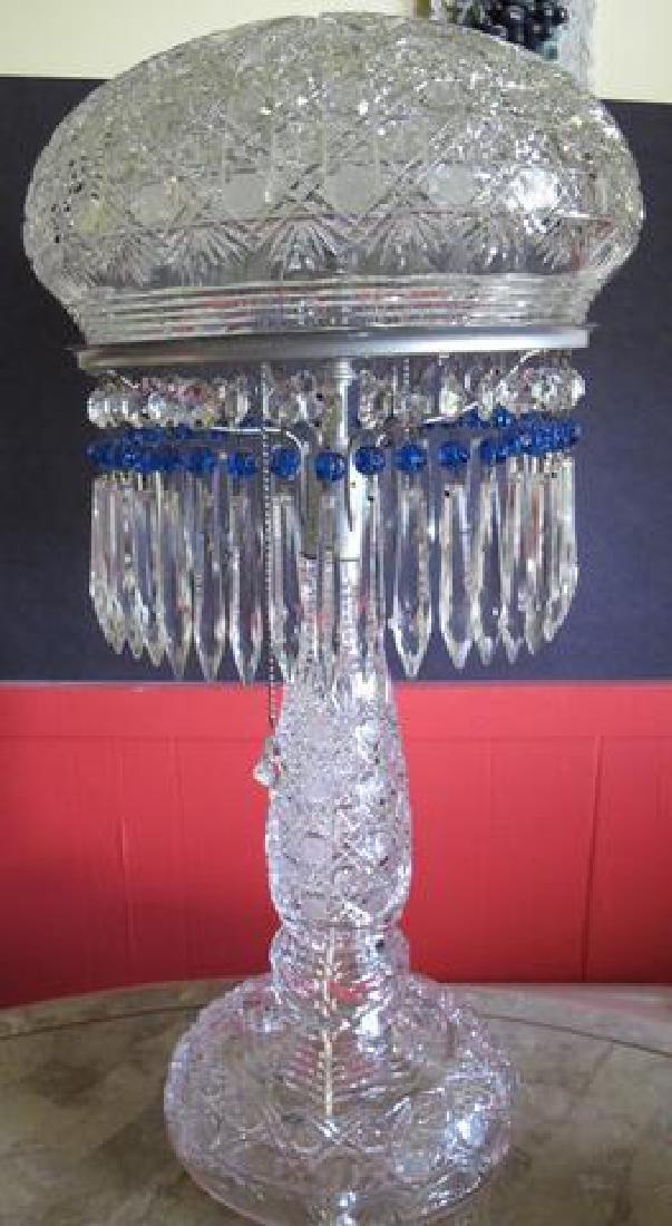 """Cut Glass 22"""" crystal lamp 2 part Antique ABP"""