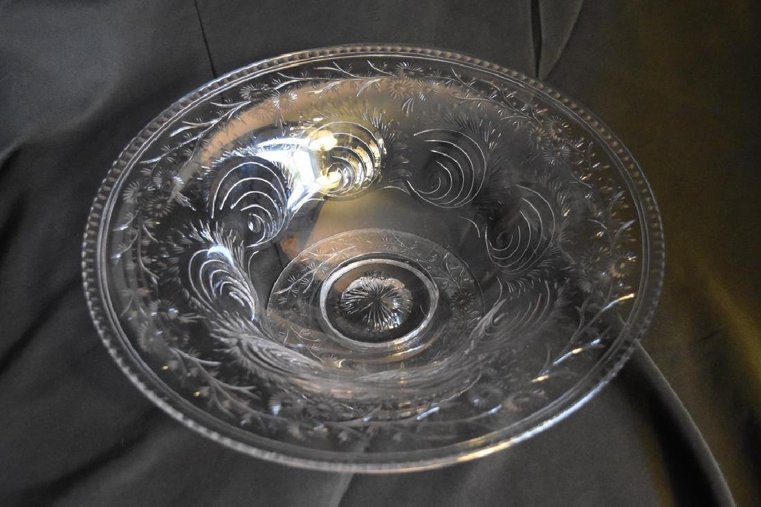 Pairpoint Glass Engraved Large Footed Bowl in Kent