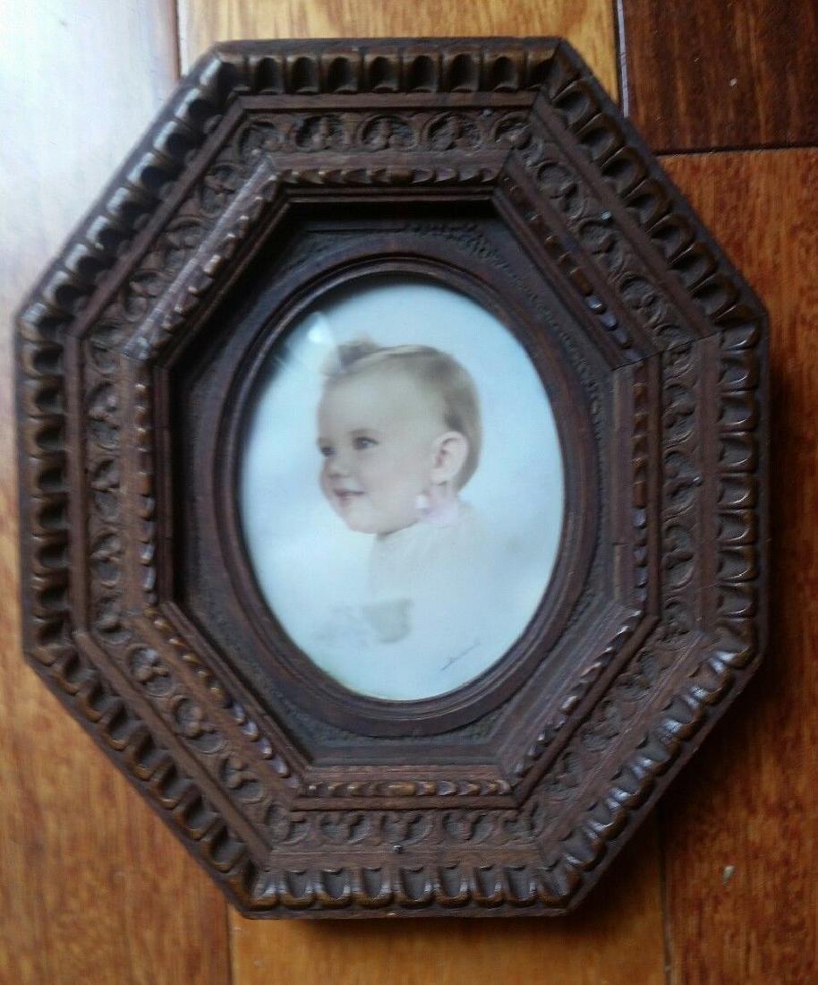 Vintage Antique Walnut Picture Frame Carved Ornate