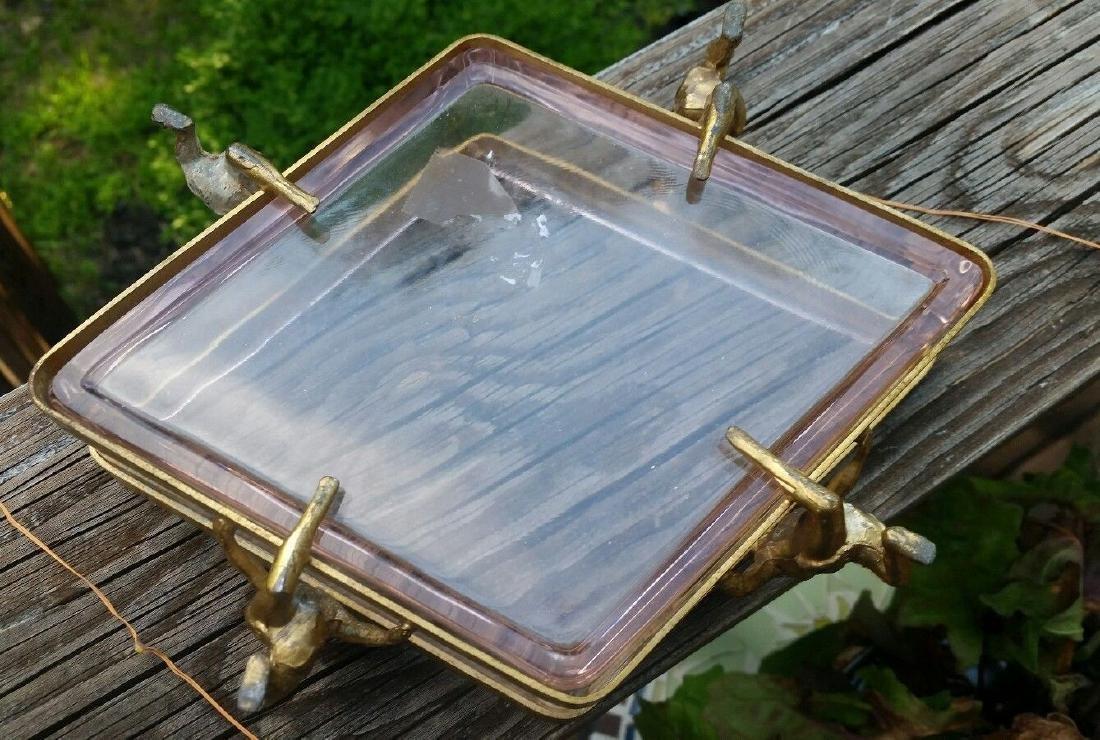 Art Deco Dish Metal Glass Figural Flapper Girls - 4