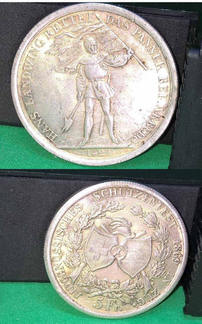 1869 Swiss 5 Franc Zug Shooting Thaler