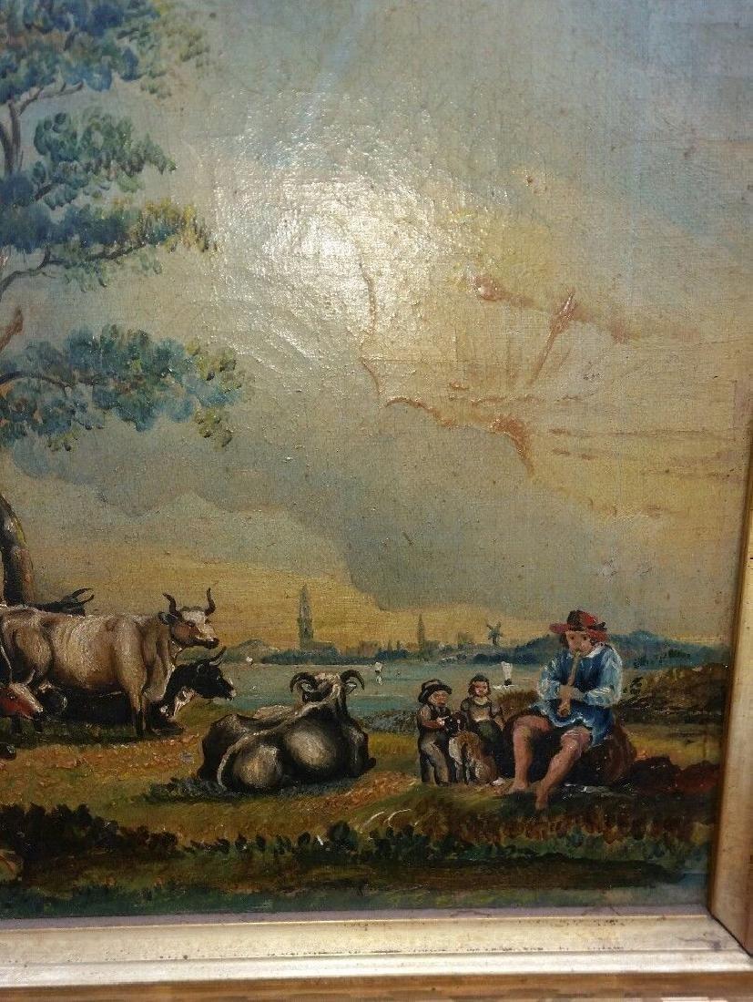 19th Century Oil on Canvas Folk Art Painting - 3