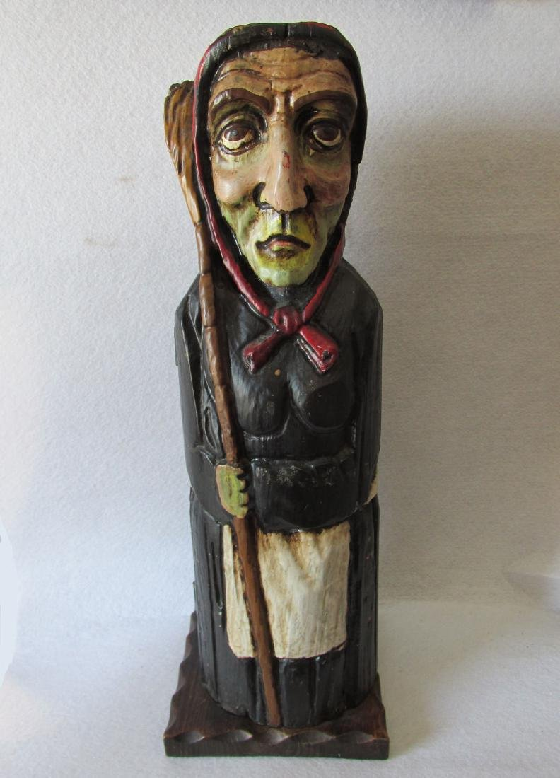 Old Woman, Witch with Broom Bottle Holder, Hand Carved