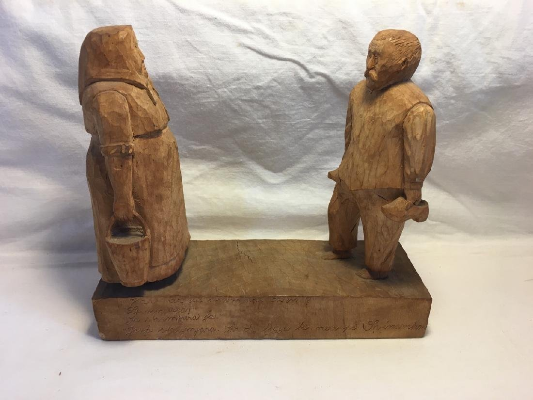 Signed/Dated Middle European Wood Carved Sculpture