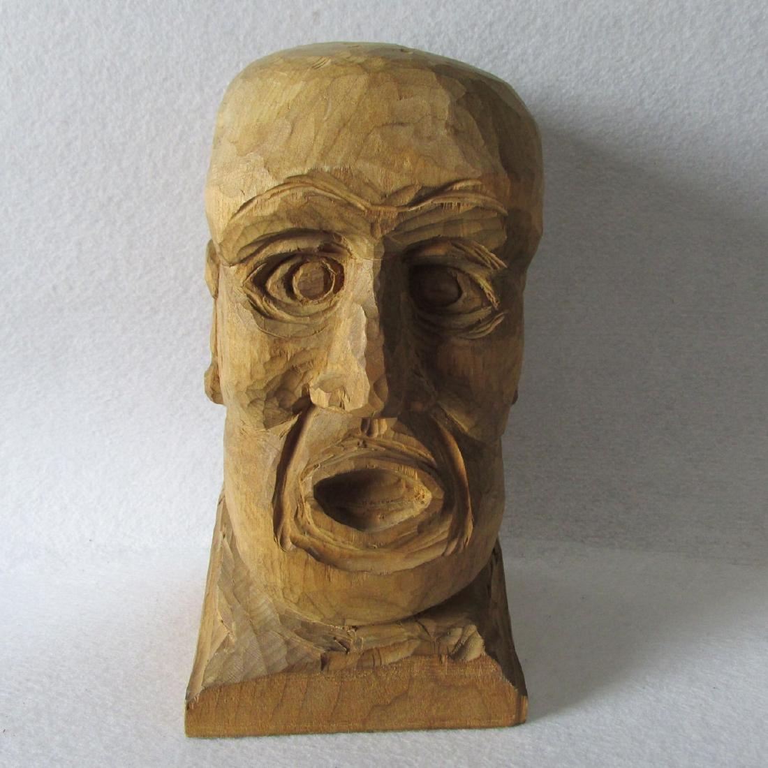 Folk Art Hand Carved Bust of a Man