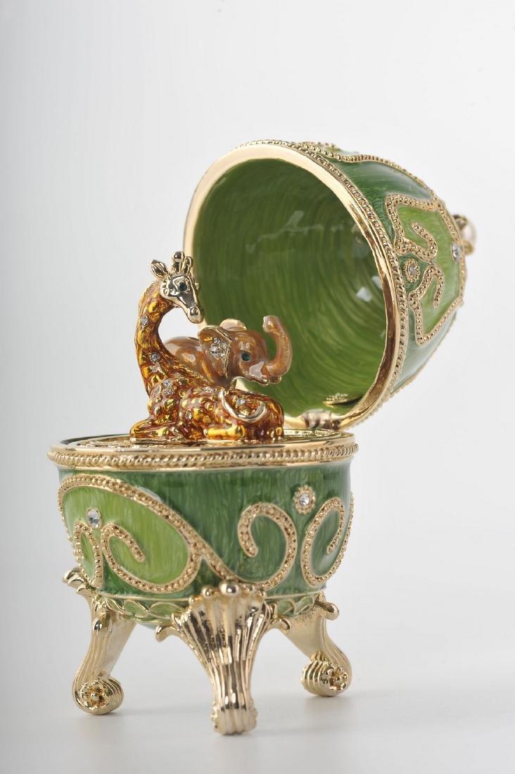 Fabergé Style Egg - Jewelery box Giraffe & Elephant