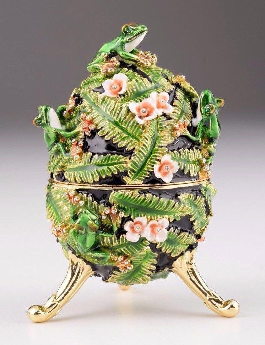 Fabergé Style Egg - Jewelery & Music box with frogs