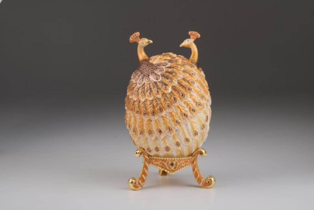 Fabergé Style Egg - Jewelery box XL with Peacocks -