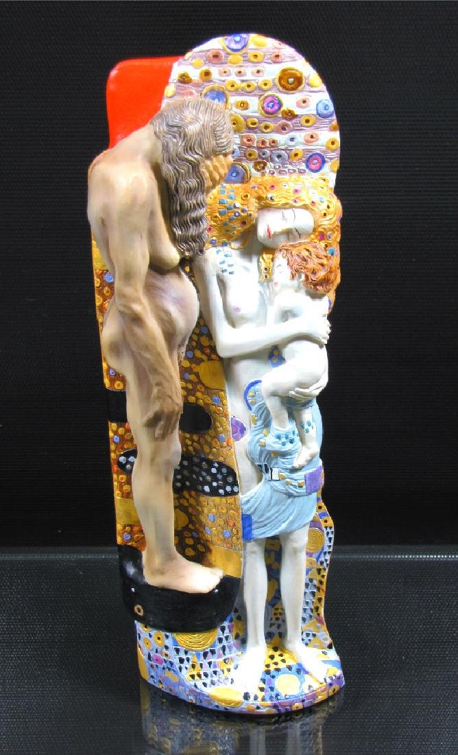 After Gustav Klimt: Three stages of Woman life statue