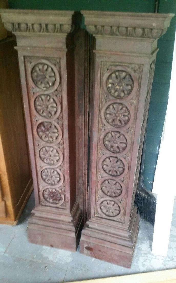 Antique Architectural Columns Fireplace Carved Carving