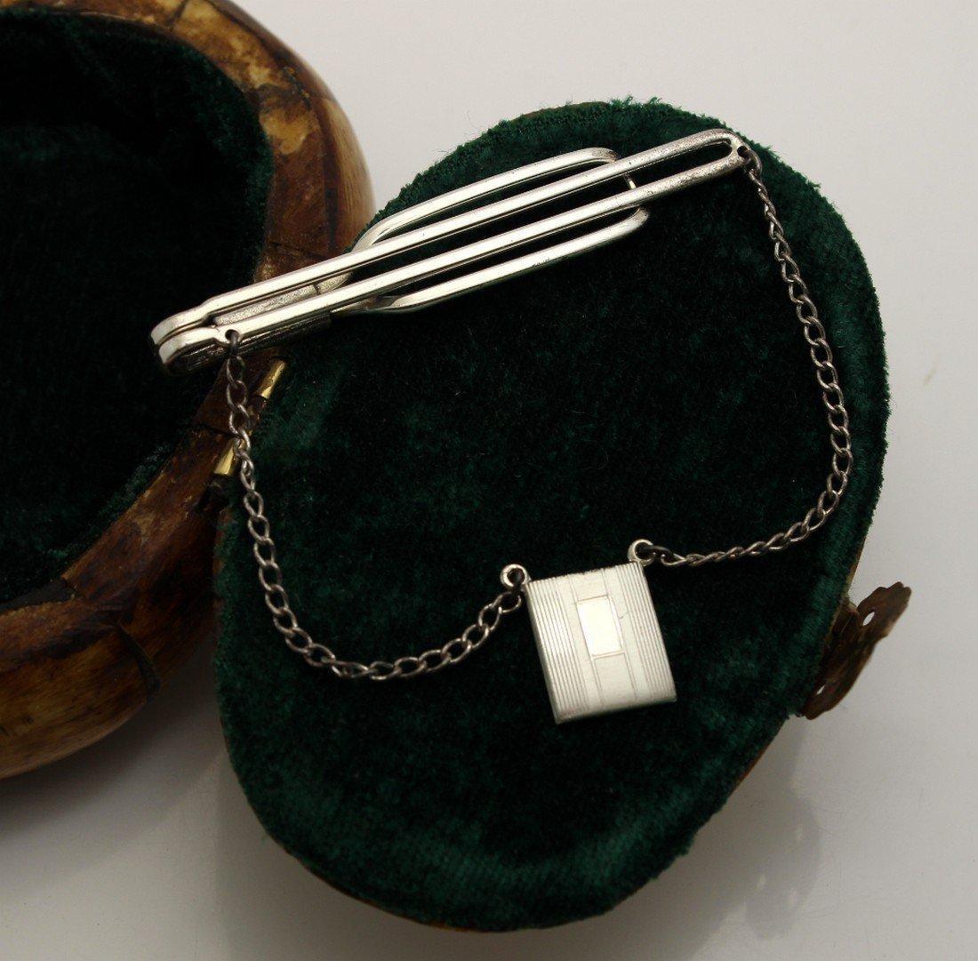 Vintage Art Deco MACO Sterling Silver Medallion Tie