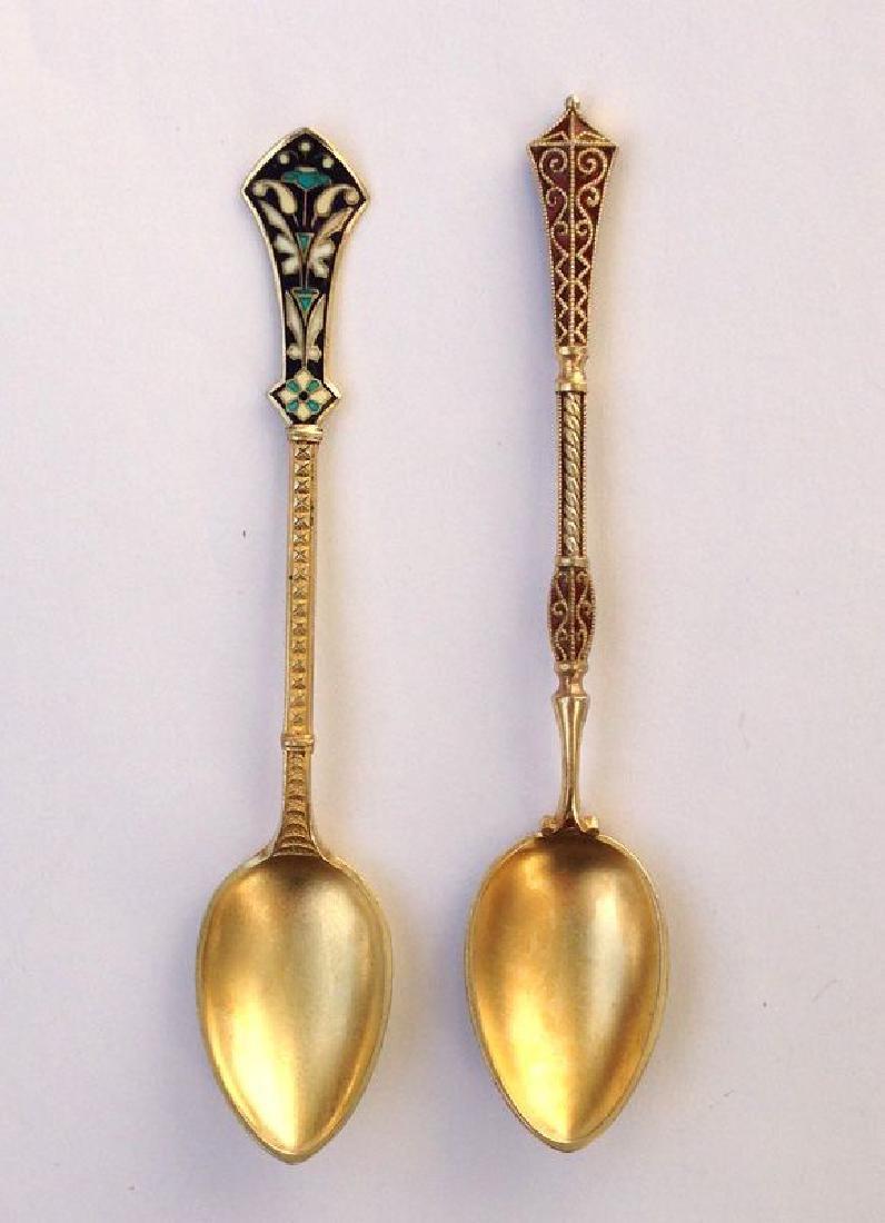 David Andersen Sterling Silver Enamel Spoons, 1900