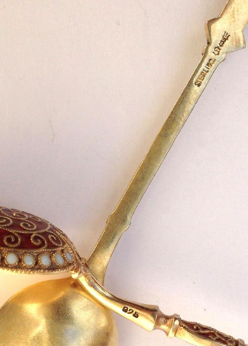 David Andersen Sterling Silver Enamel Spoons, 1900 - 3