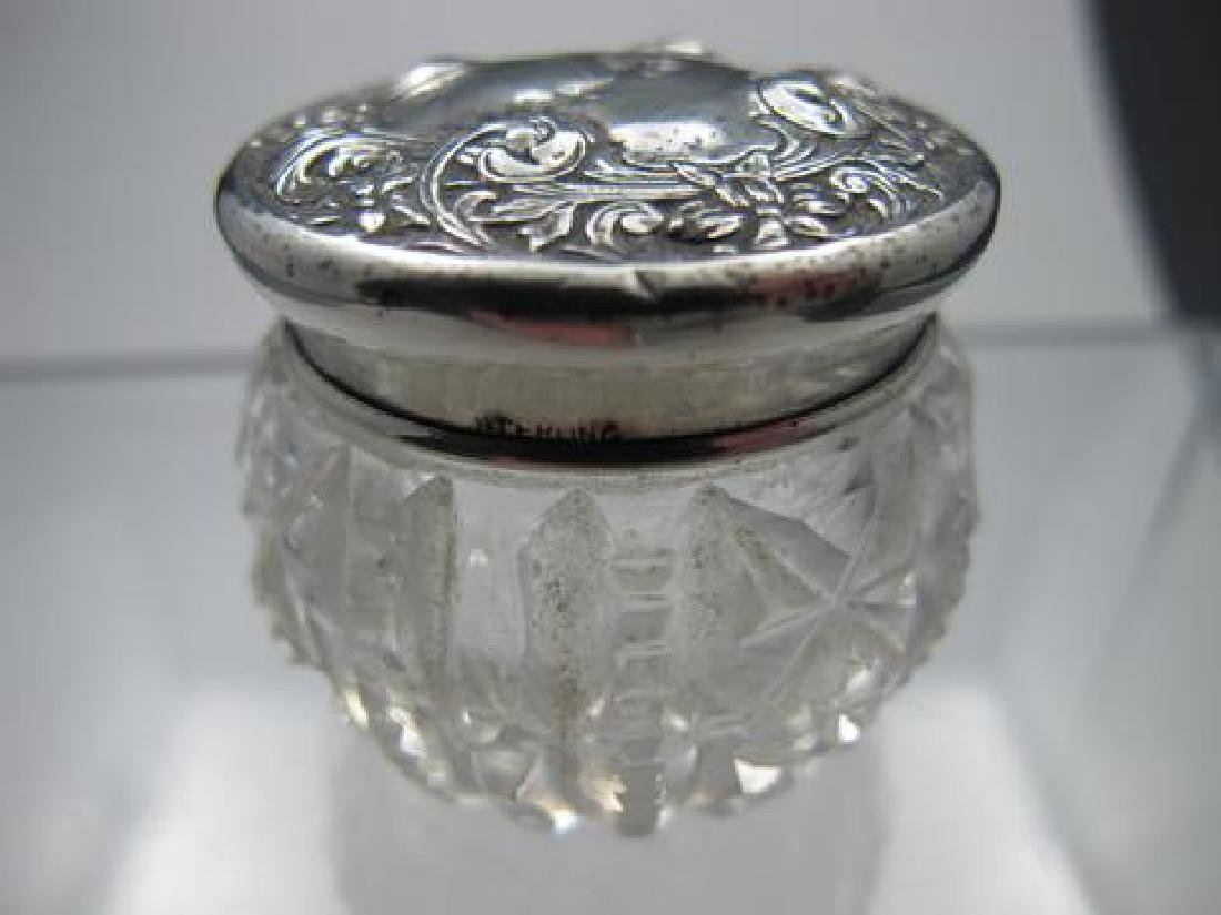 Cut glass jar Antique, Sterling Silver