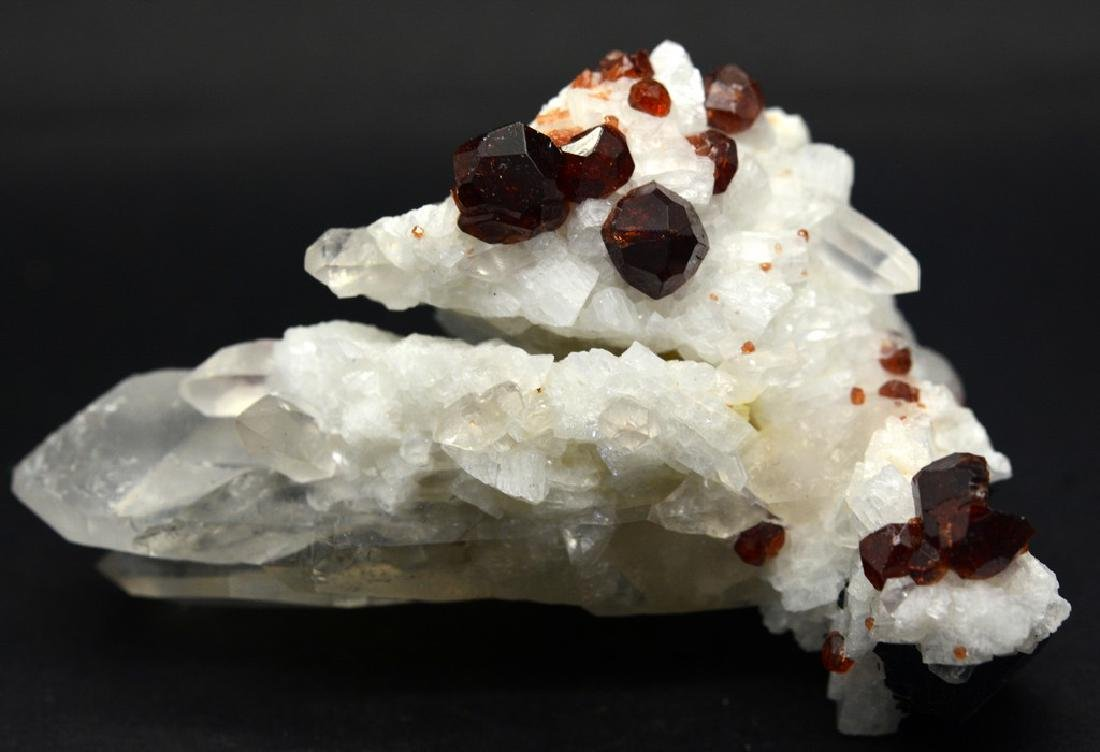 Natural Garnet combine Specimen With Quartz and Albite