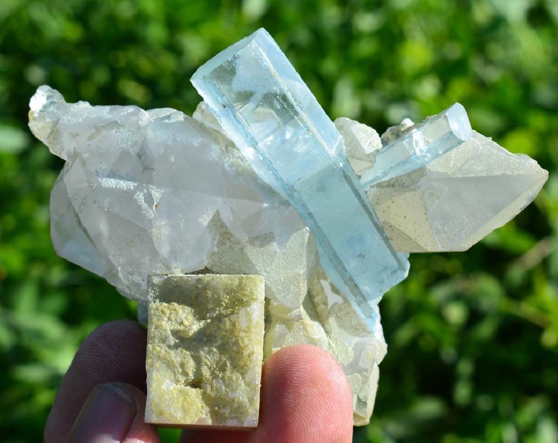 Natural Aquamarine Crystals On Quartz