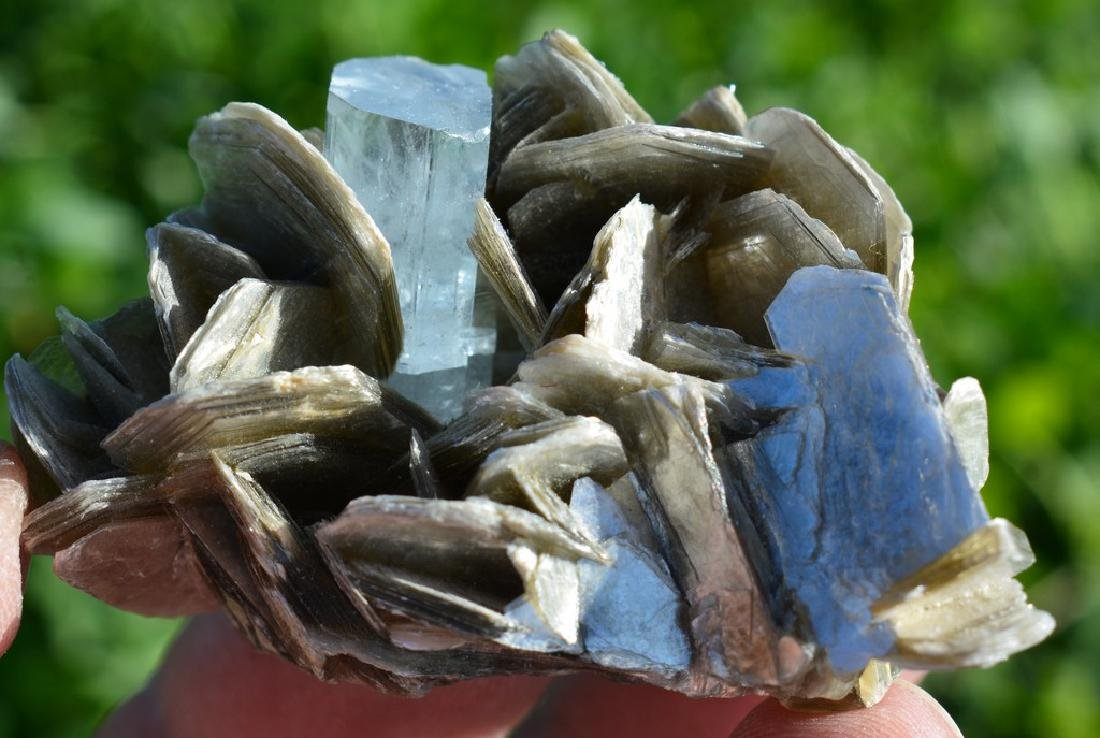 Natural Aquamarine Specimen With Mica - 4