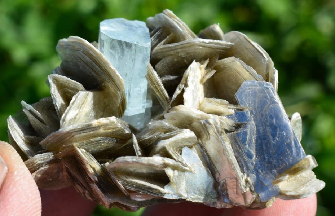 Natural Aquamarine Specimen With Mica - 6