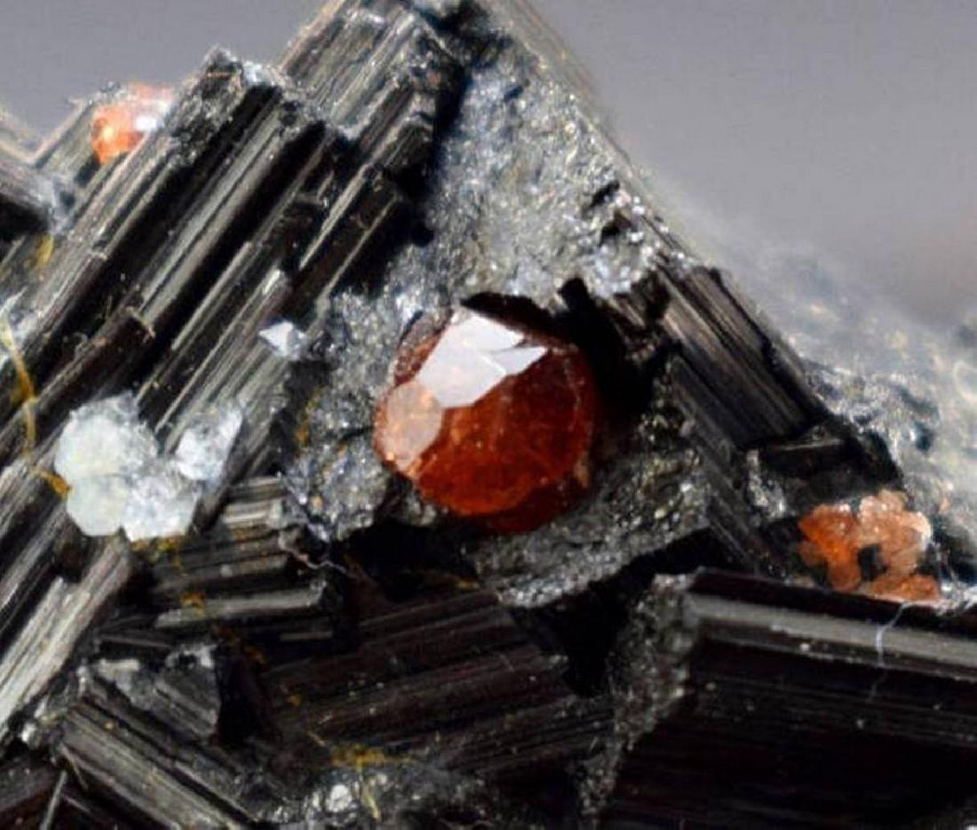 Red Garnet with Black Tourmaline Schrol & Blue Quartz - 2