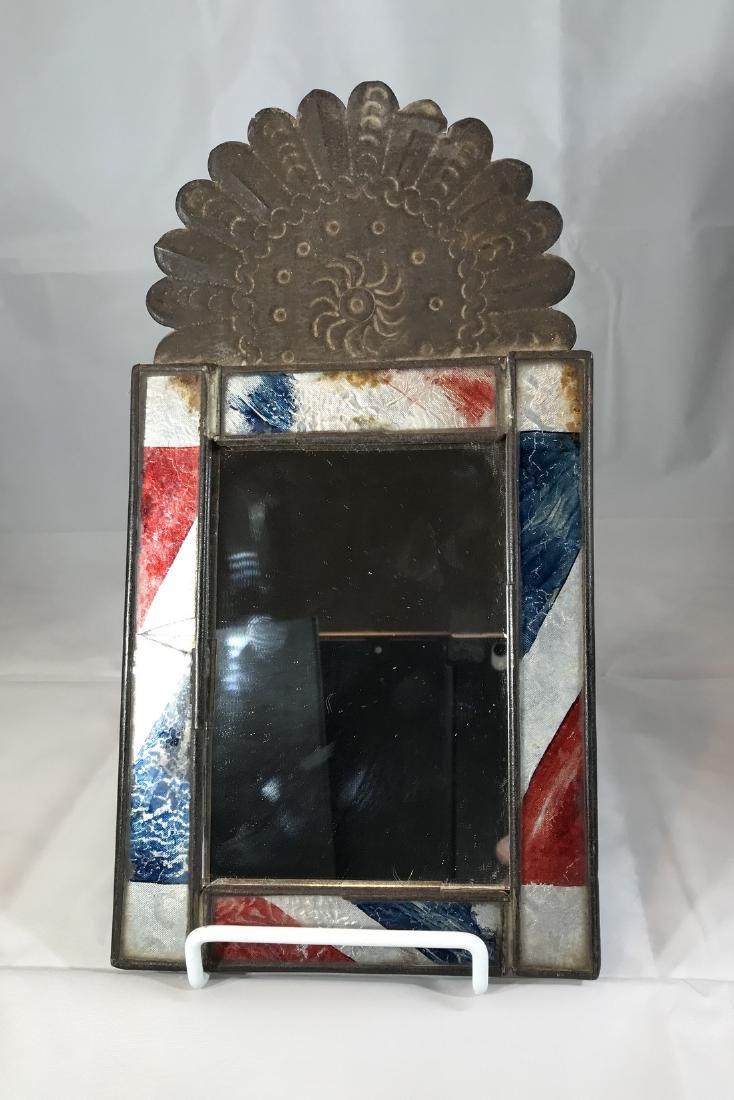 Inlaid Tin Crest Frame Glass Mirror 19th Century