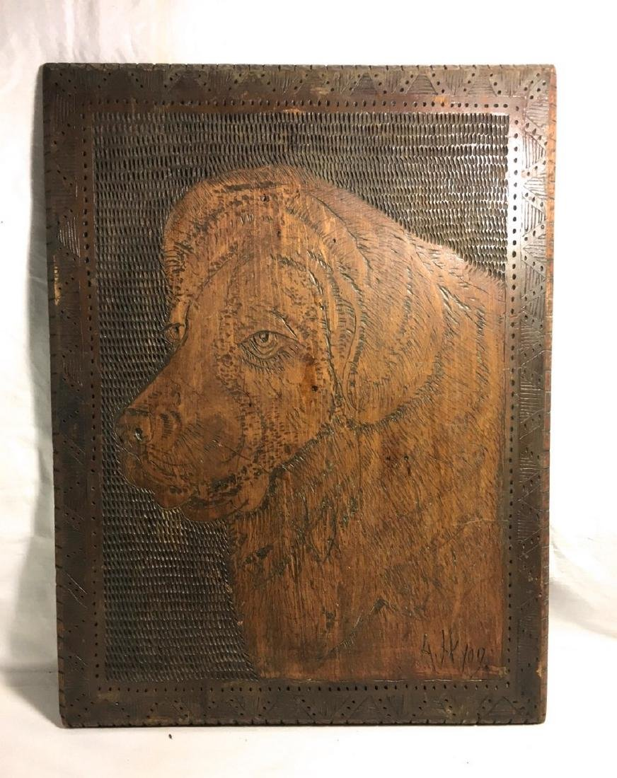 Early 20th C Arts & Craft Woodburned Portrait of a Dog