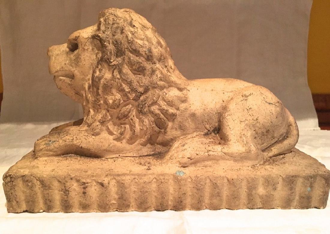 Late 19th Century Sewer Tile Clay Lion Doorstop