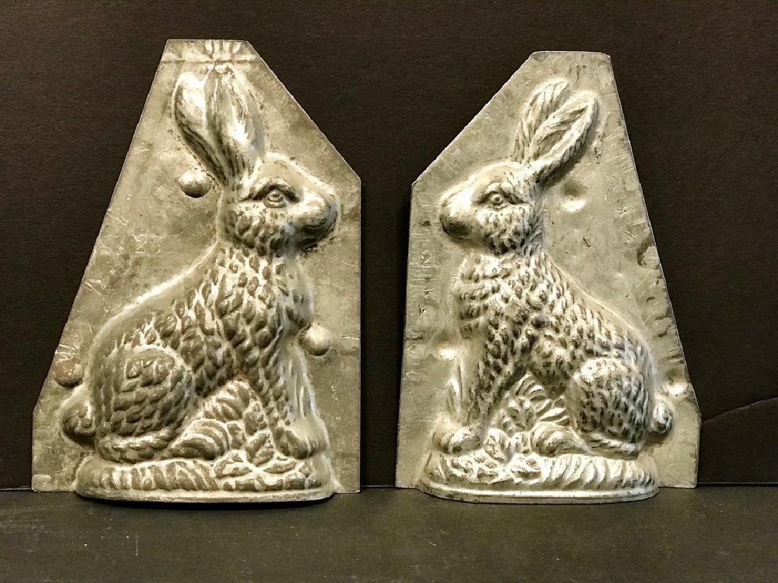 Two Piece Diminutive Rabbit Chocolate Mold, C. 1900