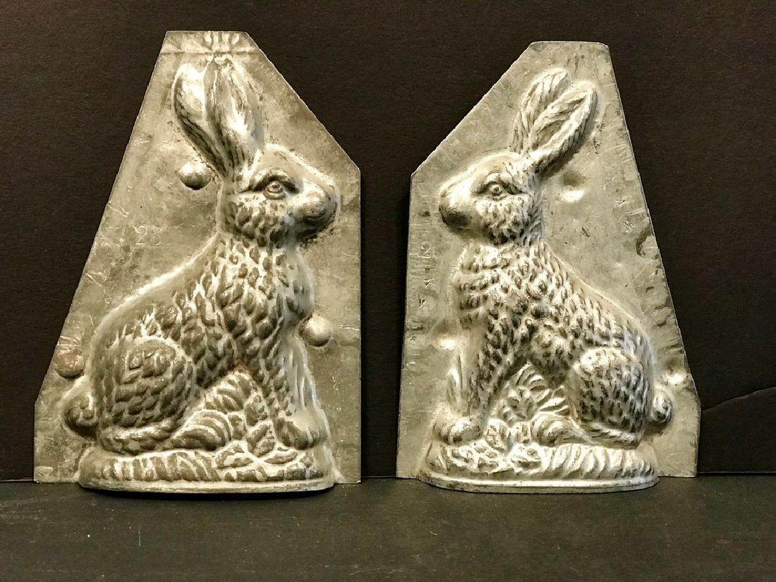 Two Piece Diminutive Rabbit Chocolate Mold, C. 1900 - 2