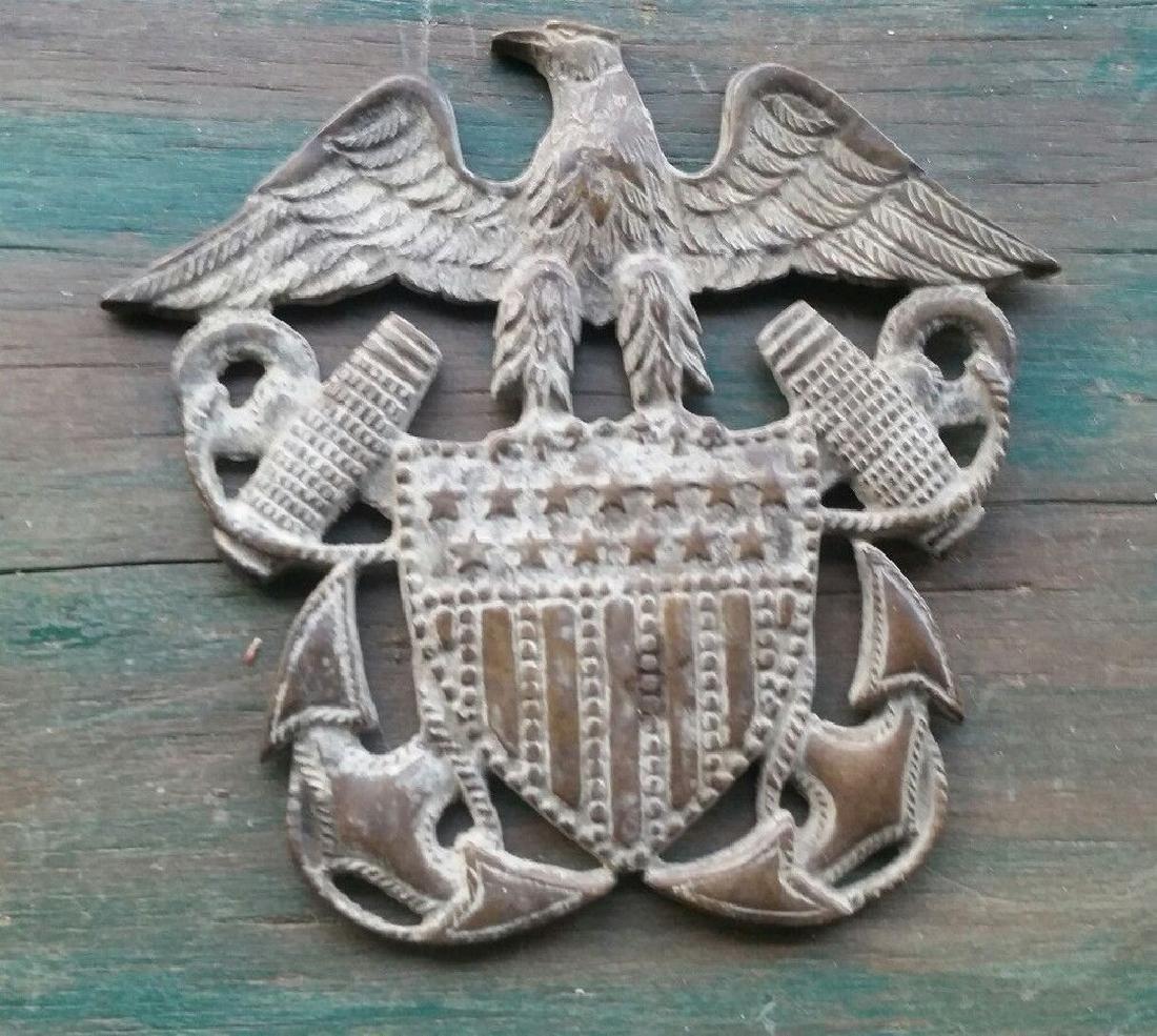 Antique Brass Navy Plaque Eagle Anchor USA Militaria