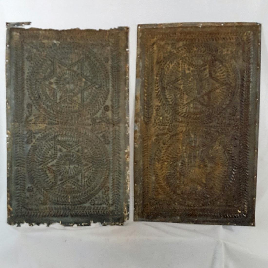 2 Punched Tin Pie Safe Double Star Panels Ca 1830-1850