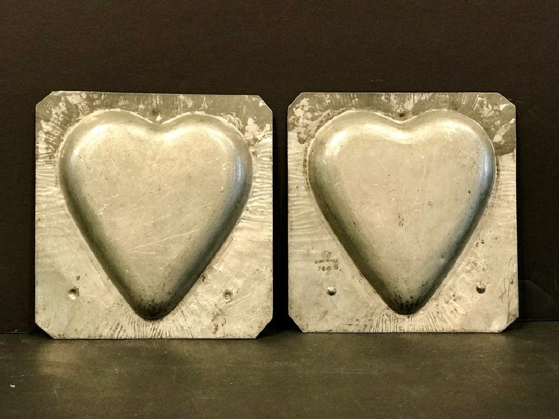 2 Piece Graphic Heart Chocolate Mold Early 20th Century