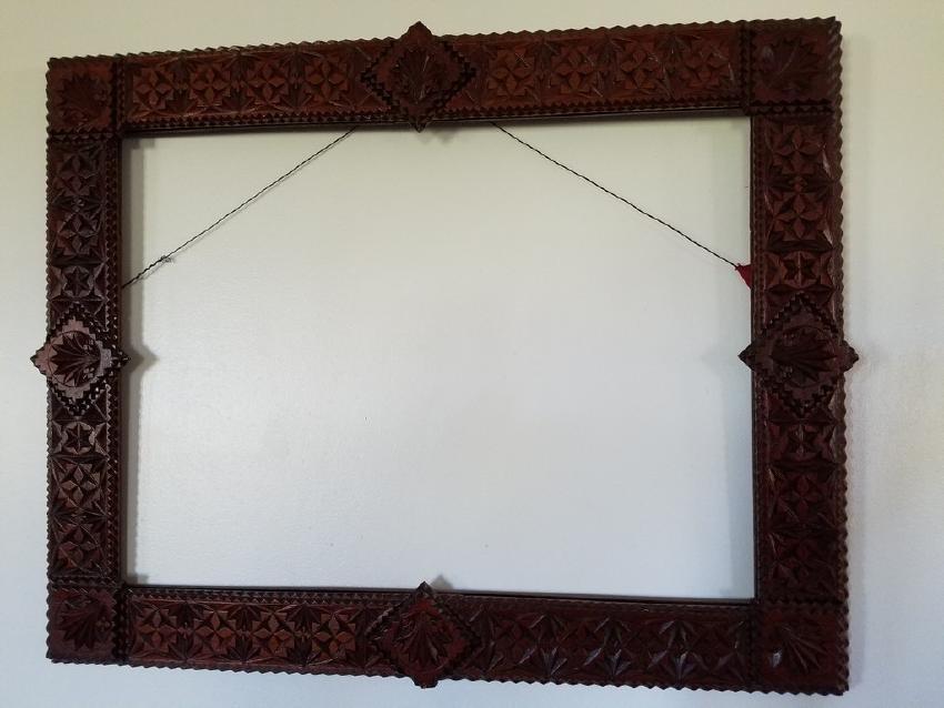 Hand Carved Tramp Art Frame with Detailed Corner Blocks