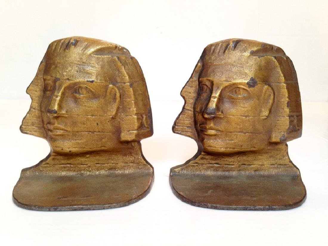 C1925 Cast Iron Pharaoh Bookends