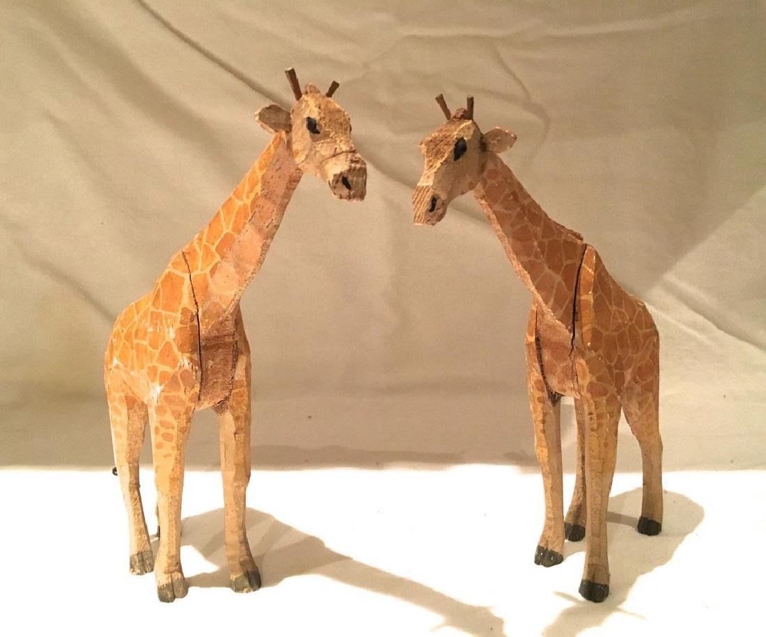 Pair of early 20th C Carved and Painted Circus Giraffes
