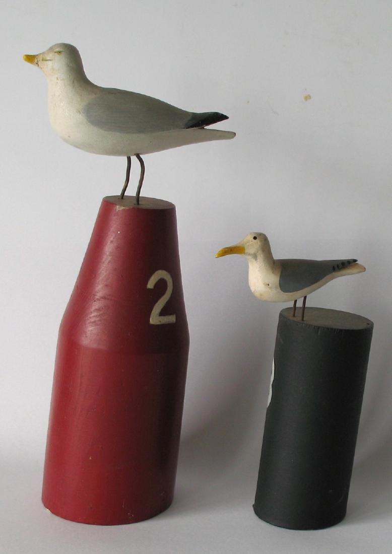 Pair of Vintage Seagull Carvings - 2