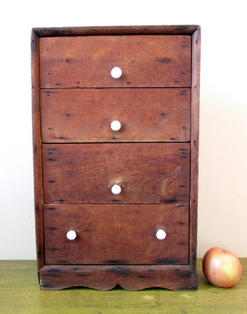 Early Miniature Four Drawer Chest