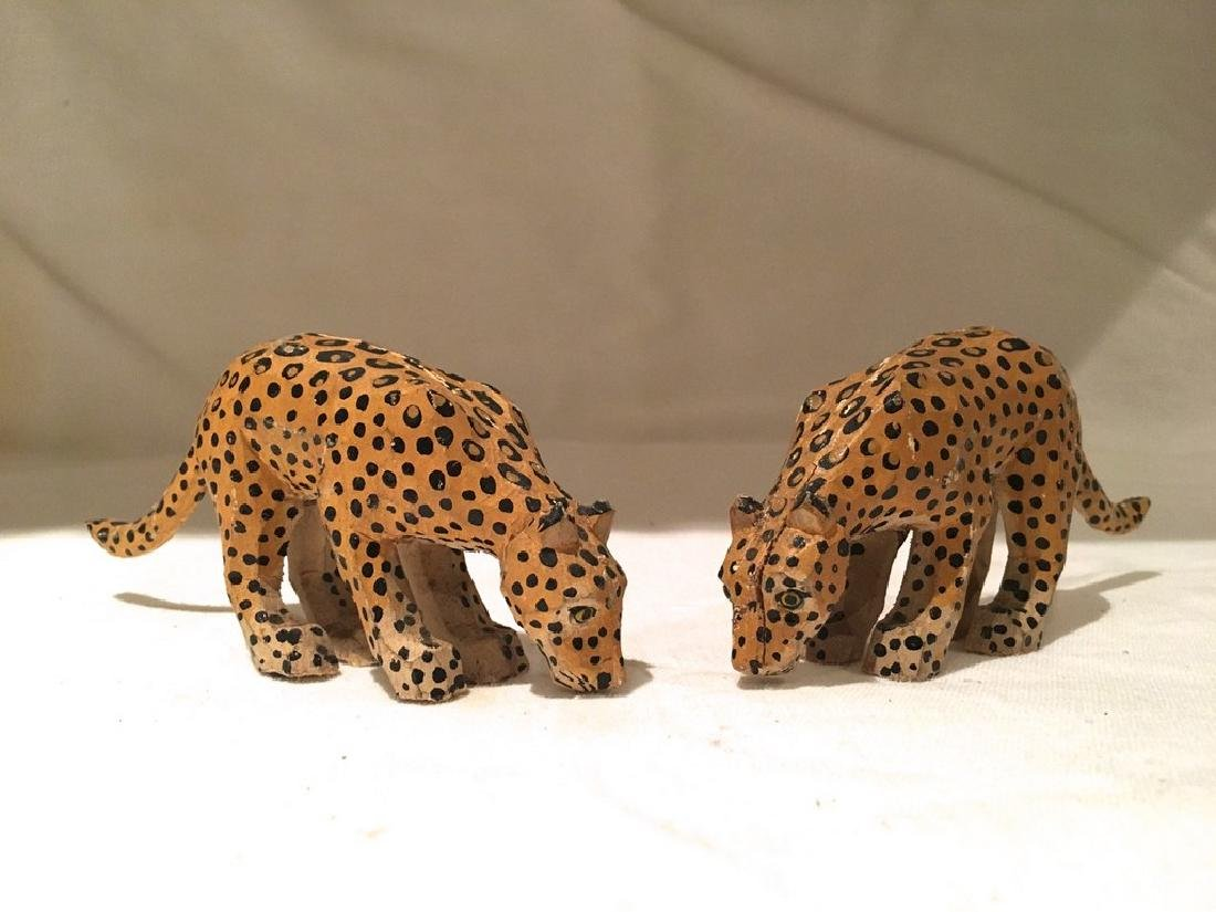 Pair of early 20th C Carved and Painted Circus Leopards