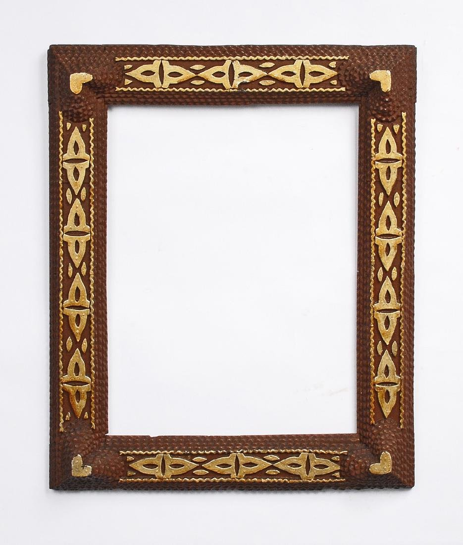 Painted Tramp Art Frame with Hearts 1900