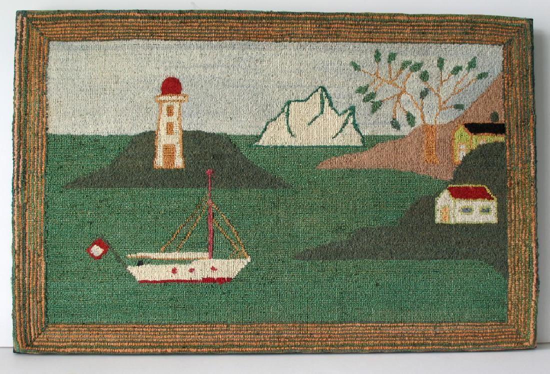 Vintage Nautical Hooked Rug