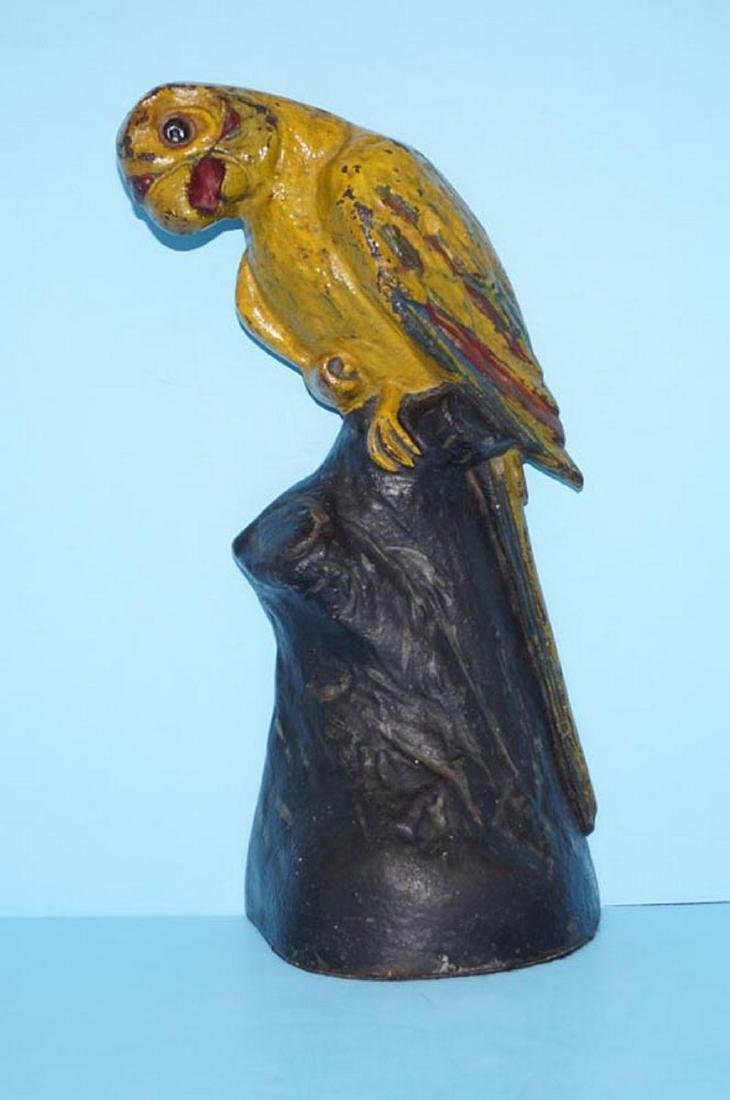 Parrot on Stump Cast Iron Doorstop