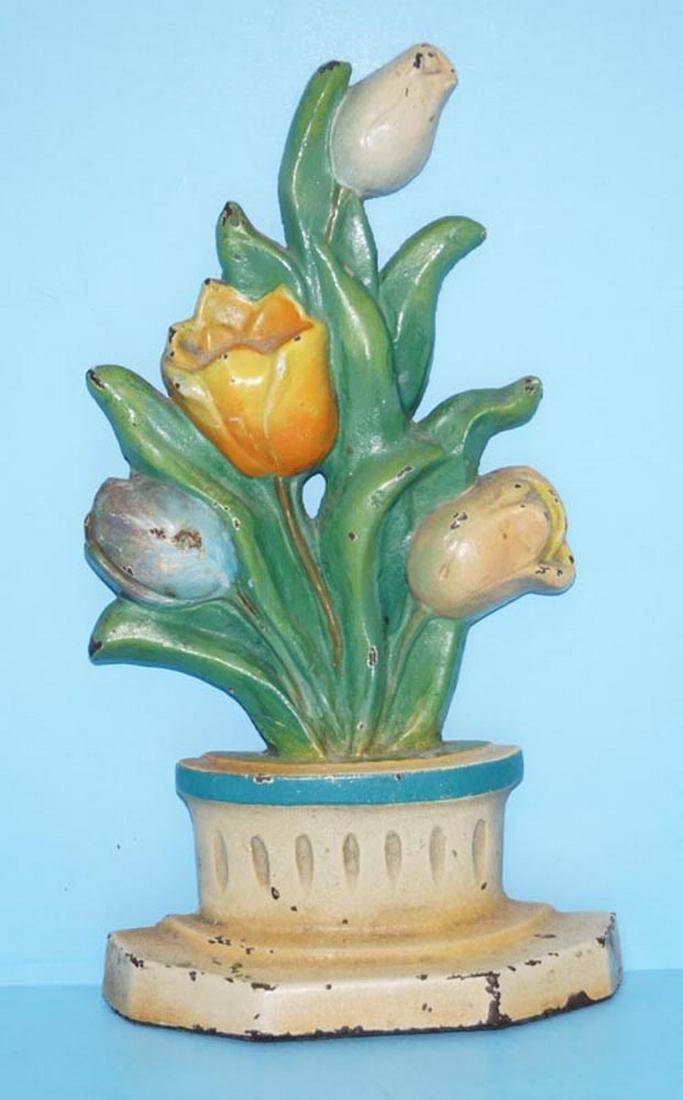 Tulip Flowers in Pot Cast iron Doorstop
