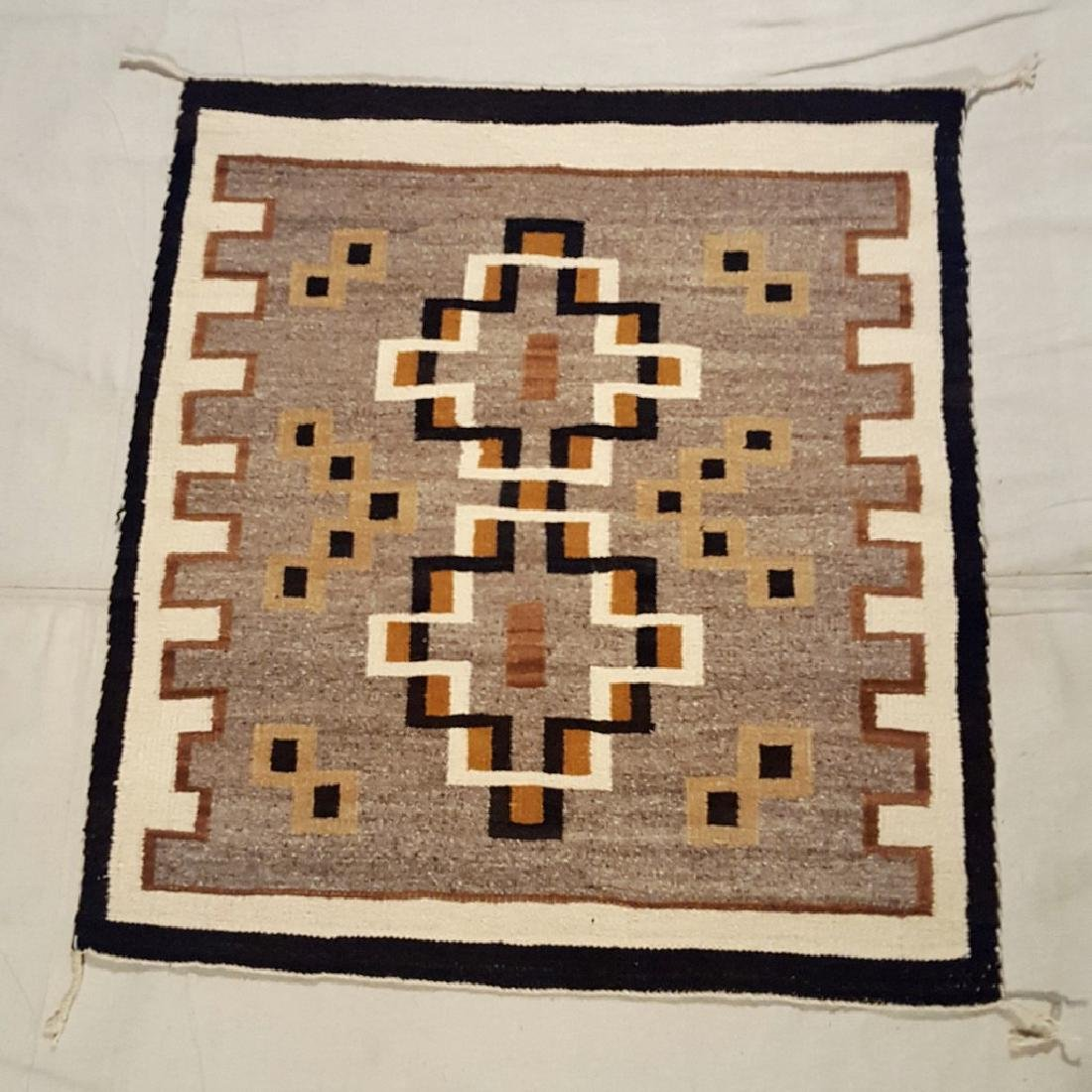 Small Two Grey Hills Woven Rug Ca 1940's