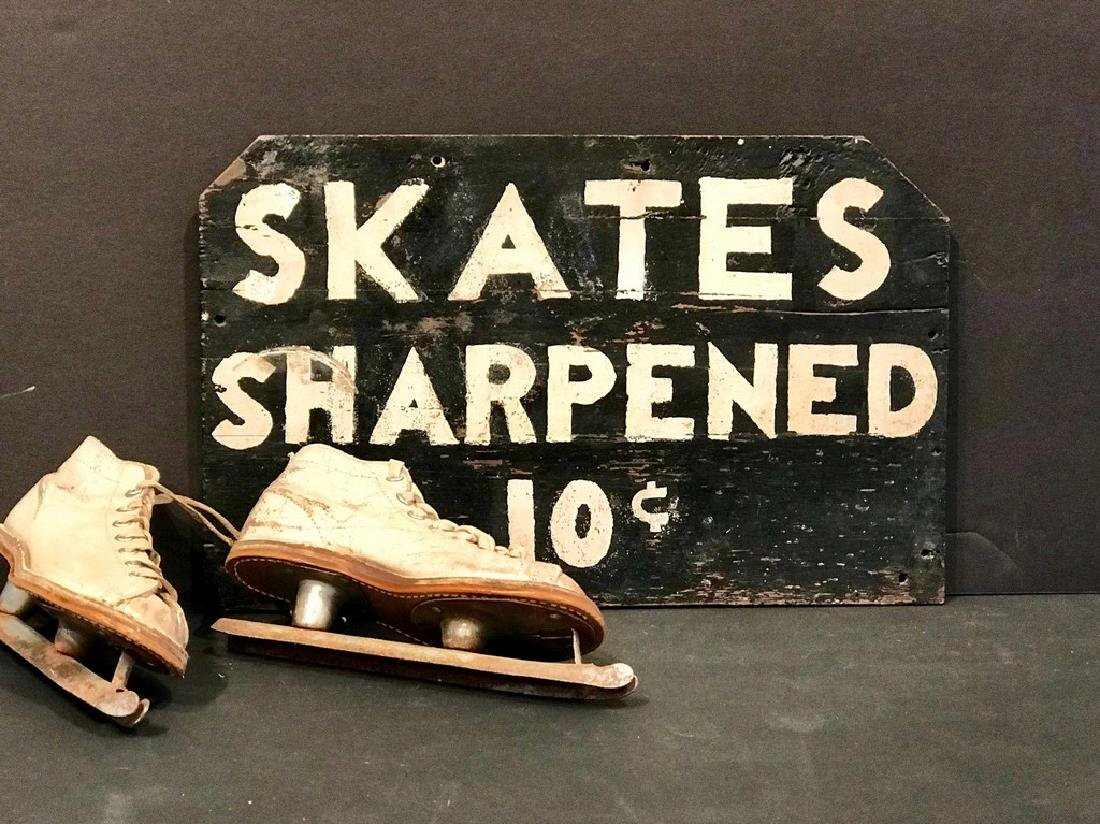 Skates Sharpened, 10c Sign, Early 20th Century