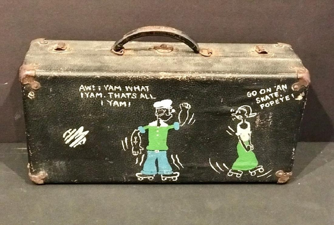 Popeye Decorated Roller Skating Case Early 20th Century