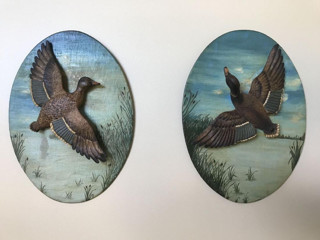 Flying Mallards Carving Plaque