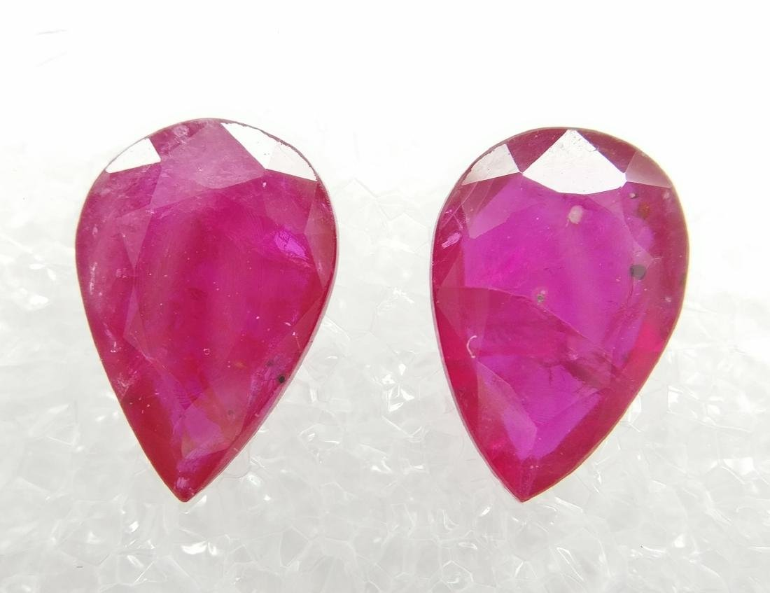 Couple of 2 Ruby total 3.31 ct Deep Purplish Red